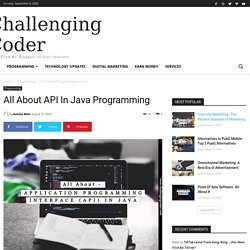 All About API In Java Programming - Challenging Coder