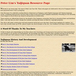 About Taijiquan - Welcome To Peter's Taijiquan Home Page