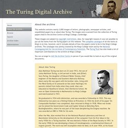 About the Turing Digital Archive