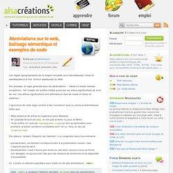 Abréviations sur le web, balisage sémantique et exemples de code