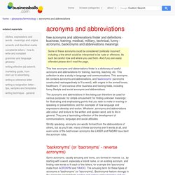 acronyms finder dictionary and abreviations finder dictionary - acronyms and abreviations list, definitions and funny acronyms from medical, military, army, training, business, internet, and emails.