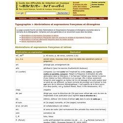 Abréviations et expressions françaises et étrangères