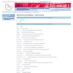 Abréviations juridiques - Liste inverse
