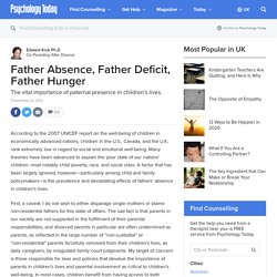 Father Absence, Father Deficit, Father Hunger