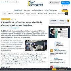 L'absentéisme coûterait au moins 45 milliards d'euros aux entreprises françaises