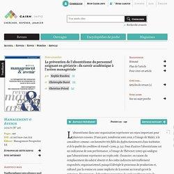 La prévention de l'absentéisme du personnel soignant en gériatrie: du savoir académique à l'action managériale