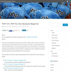 PHP 101: PHP For the Absolute Beginner