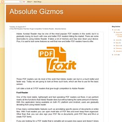 Absolute Gizmos: 3 Free PDF Readers That Give Tough Competition To Adobe Reader - Absolute Gizmos