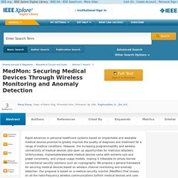 MedMon: Securing Medical Devices Through Wireless Monitoring and Anomaly Detection