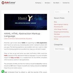 HAML: HTML Abstraction Markup Language - Railscarma Blog