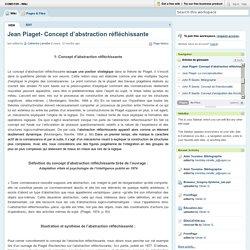 COM3109 - Wiki / Jean Piaget- Concept d'abstraction réfléchissante