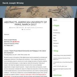 Abstracts, American University of Paris, March 2017 – David Joseph Wrisley