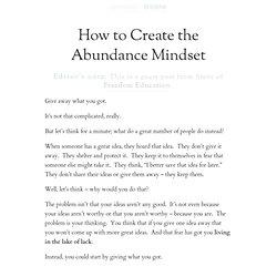 How to Create the Abundance Mindset | Zen Habits