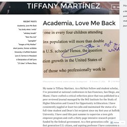 Academia, Love Me Back – TIFFANY MARTÍNEZ