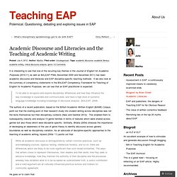 Academic Discourse and Literacies and the Teaching of Academic Writing « Teaching EAP