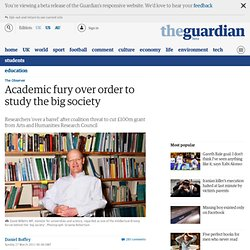 Academic fury over order to study the big society