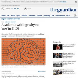Academic writing: why no 'me' in PhD?