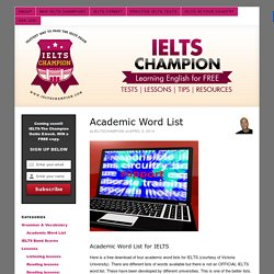 academic word list for IELTS test band score with joe IELTS Champion