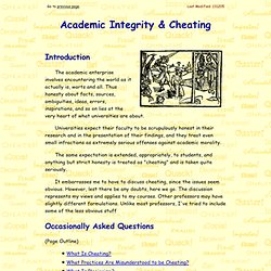Academic Integrity and Cheating