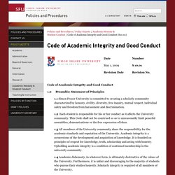 Code of Academic Integrity and Good Conduct (S10.01) - Policies and Procedures