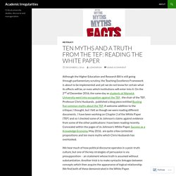 Ten Myths and a Truth from the TEF: Reading the White Paper