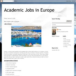 Academic Jobs in Europe: How to get a job in Greece