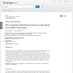 The Academic Manifesto: From an Occupied to a Public University
