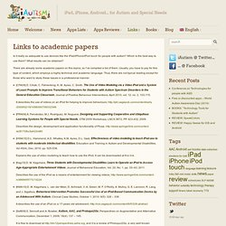 List of academic paper on autism and iPad / iPod