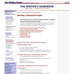 Common Writing Assignments: Writing a Research Paper