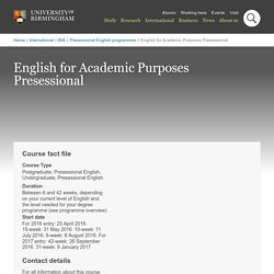 English for Academic Purposes Presessional