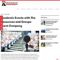 Academic Events with The Resources and Groups Event Company