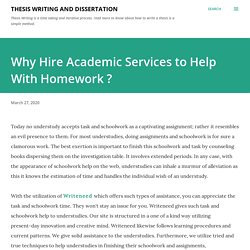 Why Hire Academic Services to Help With Homework ?