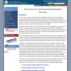 New Jersey State Academic Standards: Mathematics