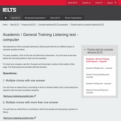 Academic / General Training Listening test - computer
