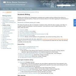 Academic Writing, Royal Roads University