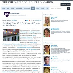 Creating Your Web Presence: A Primer for Academics
