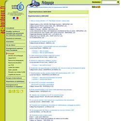 Expérimentations 2008-2009