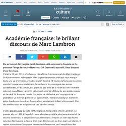 Académie française: le brillant discours de Marc Lambron