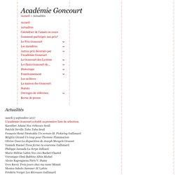 Académie Goncourt - Actualités