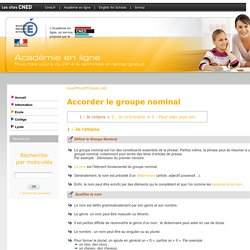 Accorder le groupe nominal