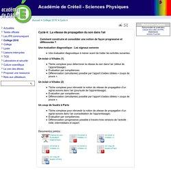 Académie de Créteil - Sciences Physiques - Cycle 4 : La vitesse de propagation du son dans l'air