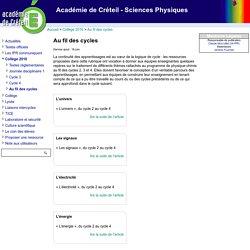 [Académie de Créteil - Sciences Physiques] Au fil des cycles