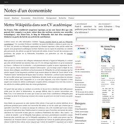 Mettre Wikipédia dans son CV académique