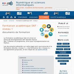 Formation académique SNT - Numérique et sciences informatiques