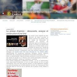 La presse d'opinion : découverte, analyse et construction d'une Une