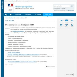 Des exemples académiques d'EPI-Histoire-géographie-Éduscol