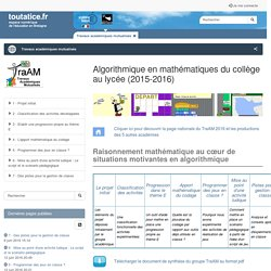 Travaux académiques mutualisés (TraAM) - Groupe de l'académie de Rennes 2015-2016