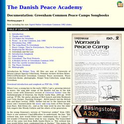The Danish Peace Academy : Greenham Common Women's Peace Camps Songbooks