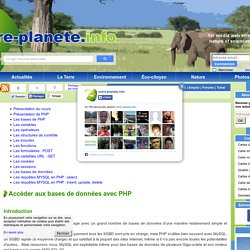 PHP : accèder aux bases de données MySQL
