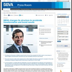 Press Room - BBVA changes its structure to accelerate transformation and boost results
